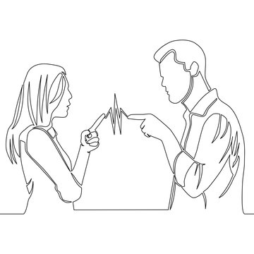 Continuous line drawing man and woman quarreling