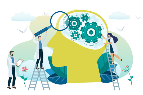 Mental health concept. Solving mental problems. Psychotherapy and help. Vector
