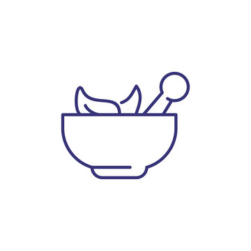 Homeopathy concept line icon. Herbs, alternative therapy, seasoning. Medicine concept. Vector illustration can be used for topics like healthcare, pharmacy, cooking