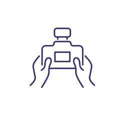 Shooting line icon. Hands holding photo camera. Photography concept. Can be used for topics like picturing, capturing, studio