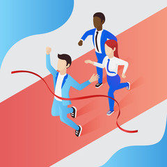 Business people winning competition isometric vector illustration. Business men and woman crossing finish line. Business, achievement, result concept. Infographic with colored background.