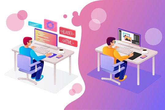 Two man people character programmer and designer working in office at new web site page online project php html coding. Tech application software development work isometry 3D view graphic design