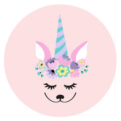 The face of a cute unicorn, a wreath of flowers on his head. Eyes closed and smiling. Vector illustration on a pink background.