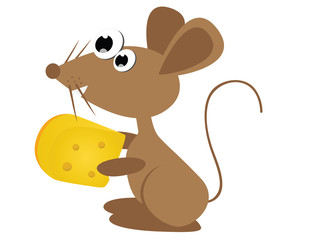 Happy mouse cartoon and cheese