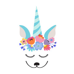 The face of a cute unicorn, a wreath of flowers on his head. Eyes closed and smiling. Vector illustration.