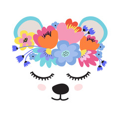 The face of a cute bear, a wreath of flowers on his head. Eyes closed and smiling. Vector illustration