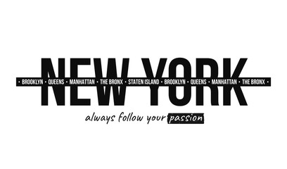 Slogan graphic for t-shirt print. T-shirt design with slogan. New York, modern typography for tee print with stripes