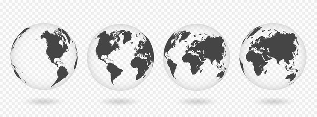 Set of transparent globes of Earth. Realistic world map in globe shape with transparent texture and shadow Fotomurales