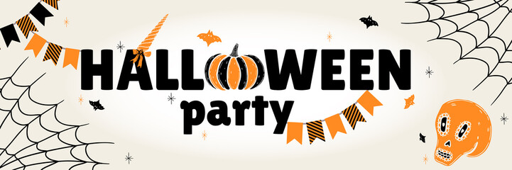 A festive poster white for the Halloween party. Design of a horizontal banner for a holiday.