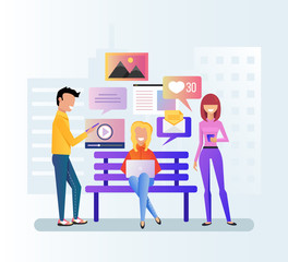 Group of people teen man and woman character discussion by internet laptop and smartphone. Online communication device digital modern technology social media network. Vector flat cartoon isolated