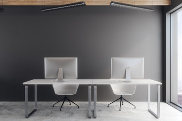 Dark coworking office interior
