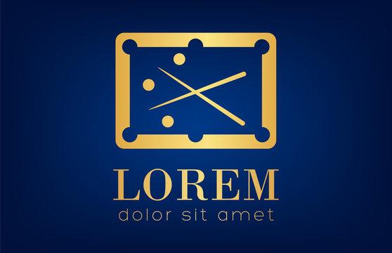 billiard table logo vector golden design