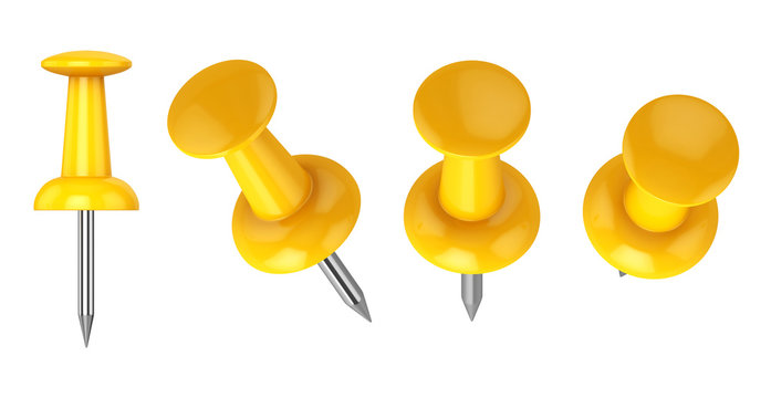 Collection of various push pins isolated on white background, 3d rendering