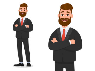 Smiling confident businessman in black formal wear with arms crossed isolated in white background portrait and full view. Emotion and body language concept in cartoon style vector illustration..