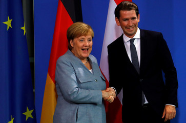 German Chancellor Angela Merkel and Austrian Chancellor Sebastian Kurz shake hands after giving a statment to the media in the chancellery in Berlin