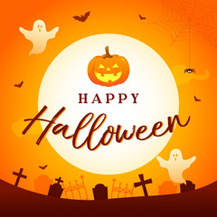 Happy Halloween vector illustration. Full moon with graveyard and spooky ghost on orange background.