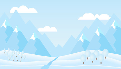 Flat design illustration of winter mountain landscape with hills, trees under blue sky and cloud, suitable as Christmas or New Year greeting card