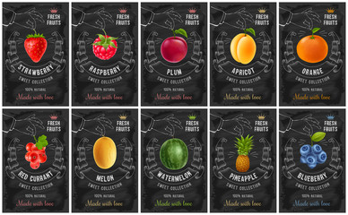 Fruit and berries labels set