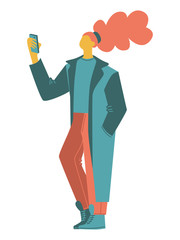 cartoon vector people. a woman taking pictures, selfie, wearing a long oversized coat. isolated casual people vector illustration in an orange green color scheme. simple flat people design elements