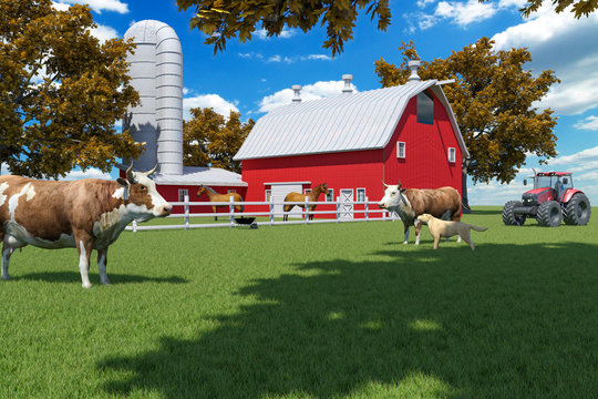 Farm scene with red barn and farm animals, 3D Rendering