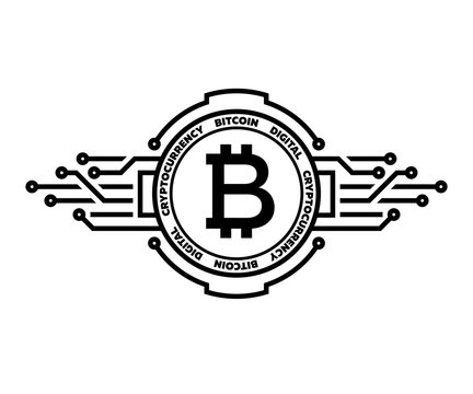 Bitcoin, abstract silver symbol of internet money. Digital Crypto currency symbol.