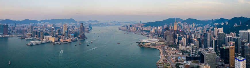 Panoramic of Hong Kong city in the evening