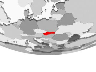 Map of Slovakia on grey political globe