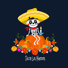 Mexican Dia de los Muertos (Day of the Dead) skeleton kid sitting on a pumbkin, greeting card, vector illustration.
