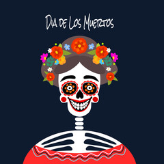 Mexican Dia de los Muertos (Day of the Dead) skeleton woman, greeting card, vector illustration.
