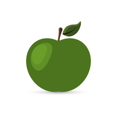 Green apple with a leaf. Vector illustration on white background.