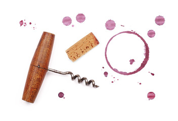 Red wine cork, opener and stain rings isolated Wall mural