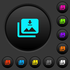 Download multiple images dark push buttons with color icons