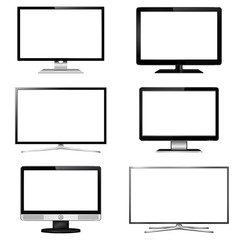Set of TV screen and computer display monitor vector illustration