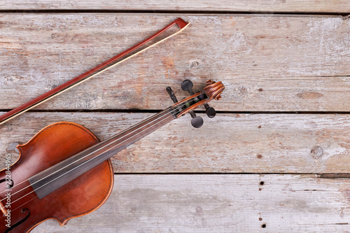 Violin And Fiddle Stick Cropped Image Vintage Cello And Bow On Old