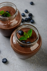 Chocolate  smoothie (pudding) with mint  in  glasses   on a grey background.