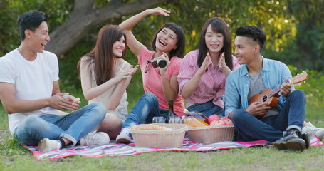 Friends having fun in the picnic