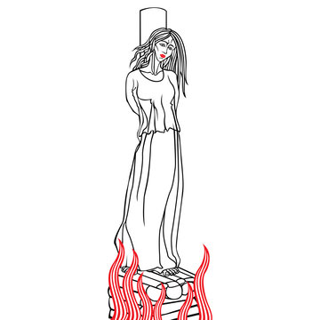 Burning a woman at the stake on charges of witchcraft.