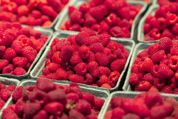 Closeup of a cardboard full of fresh organic raspberries fruits at a pubic market