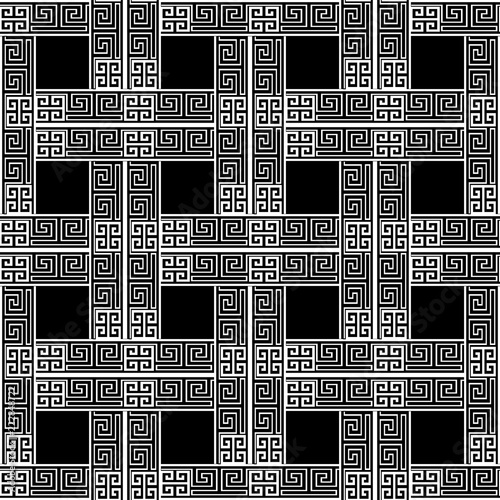 Black And White Abstract Geometric Background Greek Key Ancient Check Geometry Shapes Squares Elegant Decorative Design Template