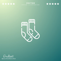 Premium Symbol of Socks Related Vector Line Icon Isolated on Gradient Background. Modern simple flat symbol for web site design, logo, app, UI. Editable Stroke. 64x64 Pixel Perfect.