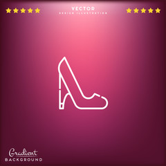 Premium Symbol of High Heels Related Vector Line Icon Isolated on Gradient Background. Modern simple flat symbol for web site design, logo, app, UI. Editable Stroke. 64x64 Pixel Perfect.
