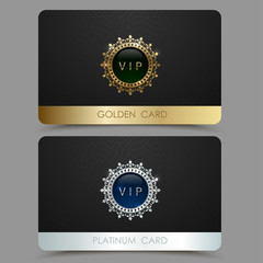 Vector golden and platinum VIP card template. Crown round frame with gem on a black geometric pattern background. Jewel label design plastic card with metallic line