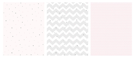 Set of 3 Bright Delicate Chevron and Dots Vector Patterns. Irregular Tiny Dots Pattern. Grey and Pink Chevron Designs. White, Gray and Pink Pastel Colors.