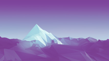 Papiers peints Prune Low-poly image of a mountain with a white glacier at the top. 3d illustration
