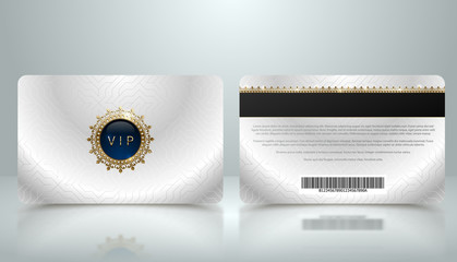Vector template of membership or loyalty silver metallic VIP card with luxury geometric pattern. Front and back design presentation. Premium member, gift plastic card with golden crown, gem, barcode.