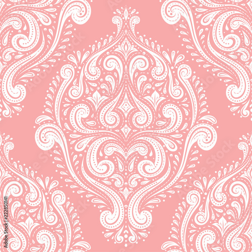 Pink and white damask vector seamless pattern, wallpaper. Elegant classic texture. Luxury ornament. Royal, Victorian, Baroque elements.