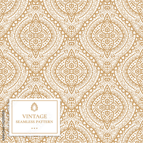 Gold And White Ornamental Seamless Pattern Vintage Vector Paisley Elements Ornament Traditional