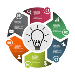 6 step vector element in six colors with labels, infographic diagram. Business concept of 6 steps or options with bulb
