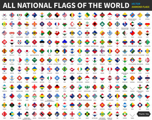 All official national flags of the world . Diamond or rhomboid shape design . Vector