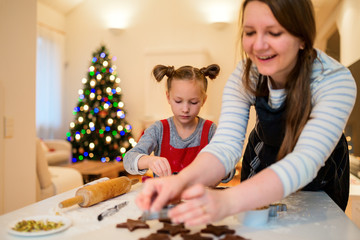 Family baking on Christmas eve